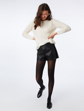 Leather look shorts black.