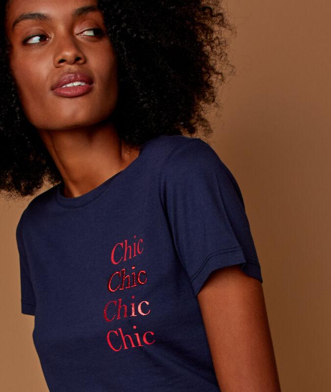 Printed t-shirt navy blue.