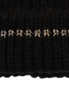 Metallic thread beanie hat black.