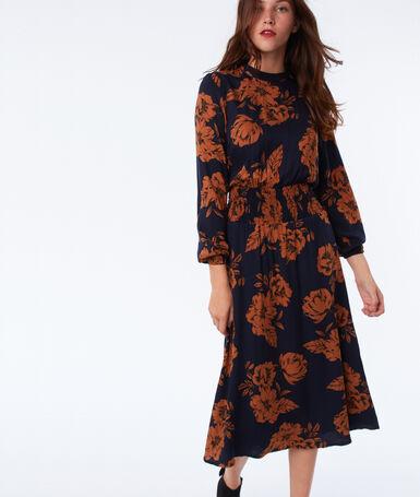 Robe imprimé floral resserrée à la taille bleu marine.