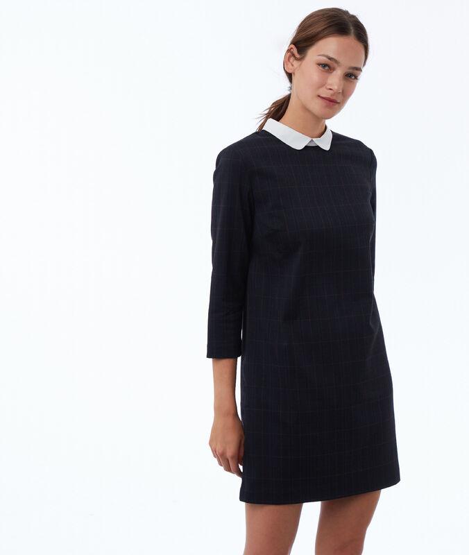 Dress with a peter pan collar navy blue.