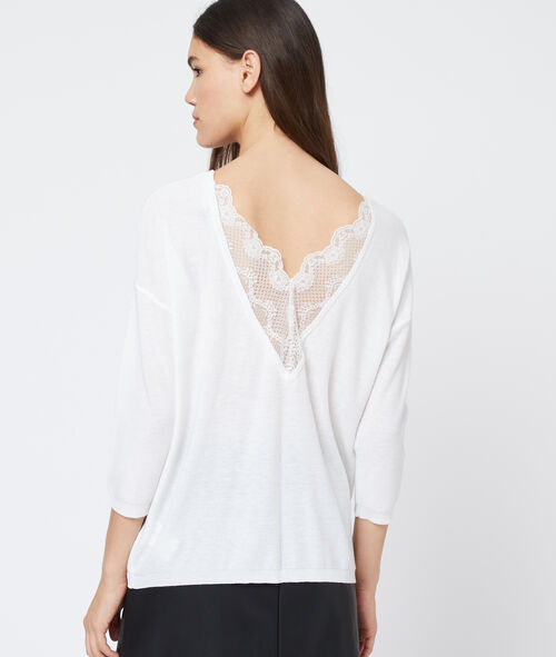 Jumper with plunging back in lace