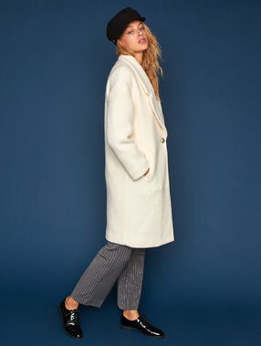 Wool blend oversize coat ecru.