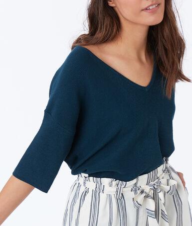 V-neck 3/4 sleeve sweater teal.
