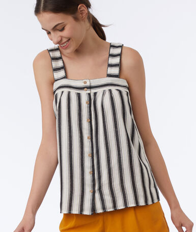 Button striped top ecru.