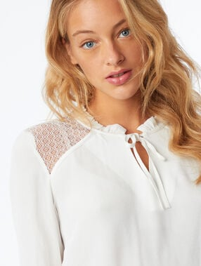 Tie front blouse with lace panel ecru.