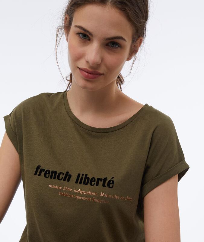 Printed t-shirt khaki.