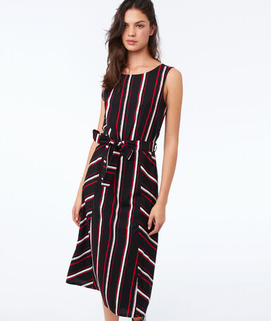 Knotted dress with stripes black.