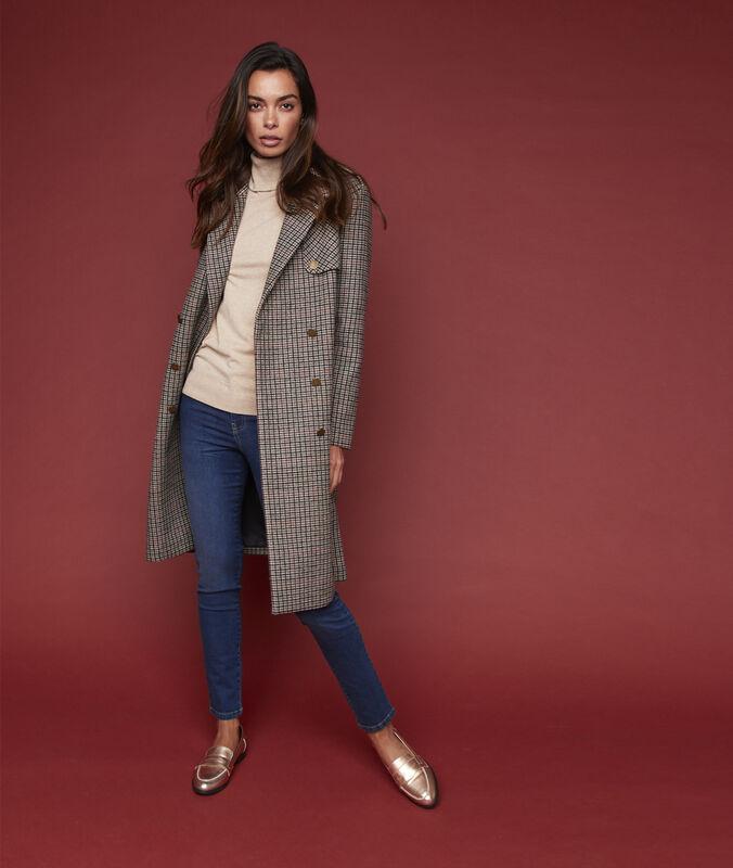 Manteau long à carreaux terre.