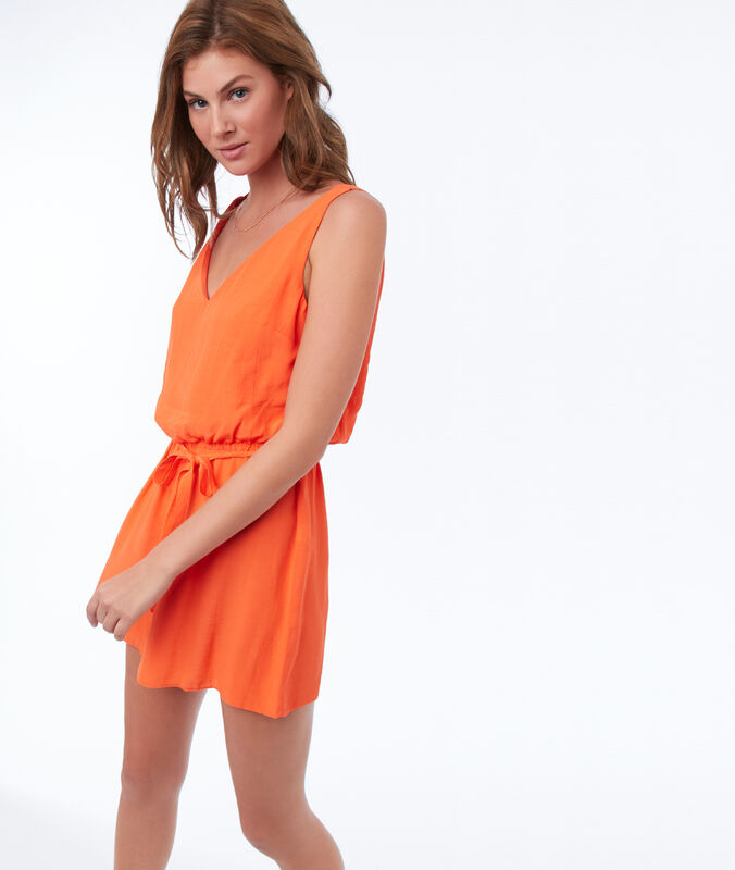 Playsuit with back neckline tangerine.