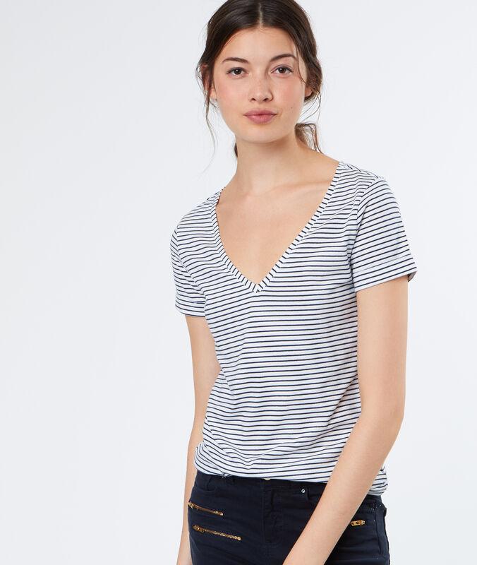 Cotton stripped t-shirt white.