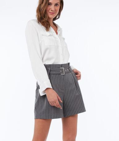 Stripe high waist belted shorts dark mottled gray.