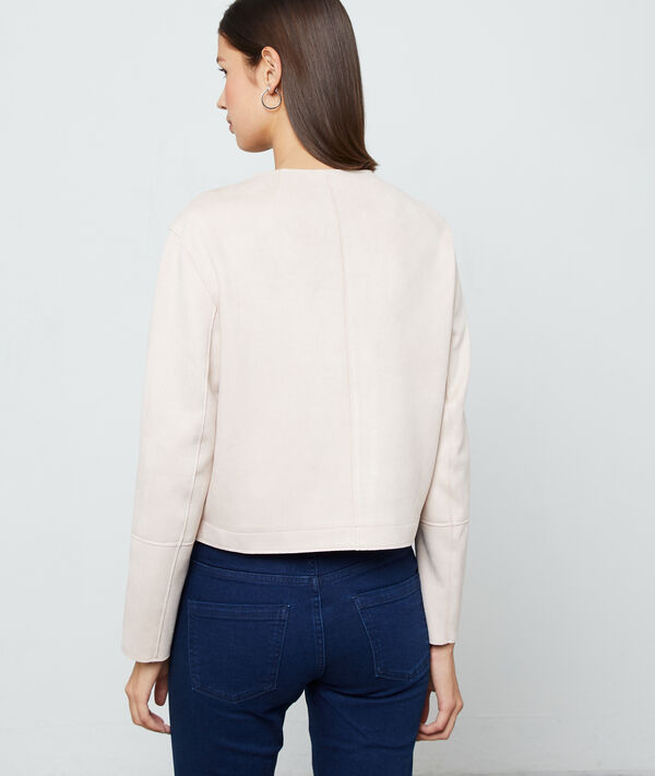 Cropped jacket in suede effect