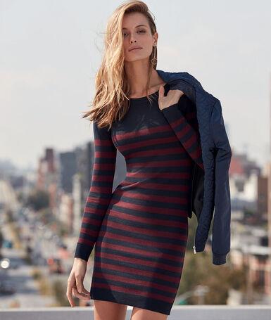 Striped dress navy.