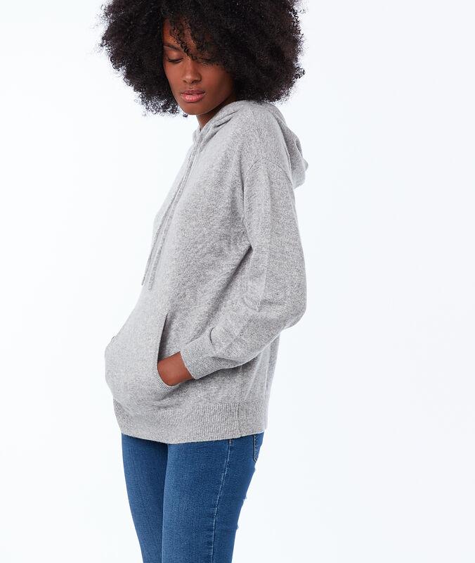 Pull à capuche 100% cachemire gris chine clair.