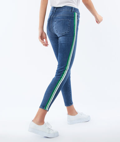 Slim jeans with side band medium faded blue.