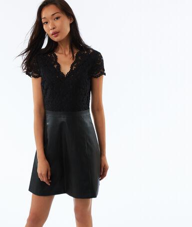 Robe bi-matière zippée au dos noir.