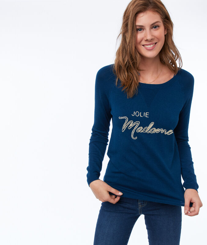 Message sweater moonlight blue.