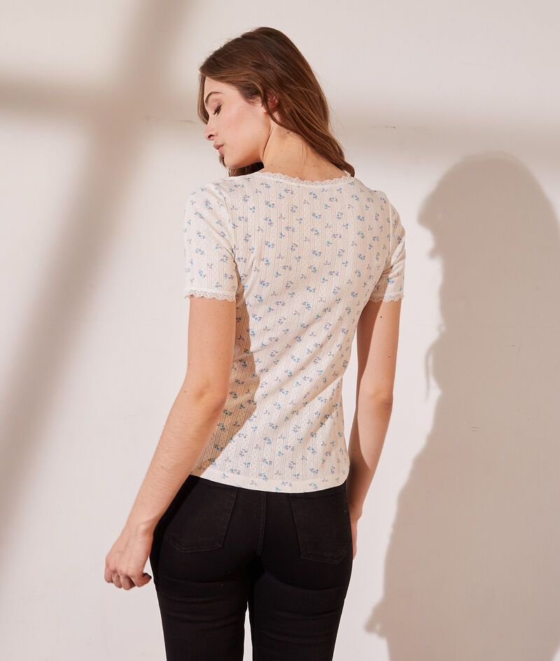 Organic cotton pointelle T-shirt with lace details