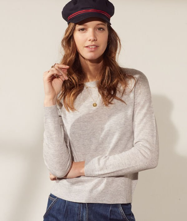 Wool and cashmere round neck jumper