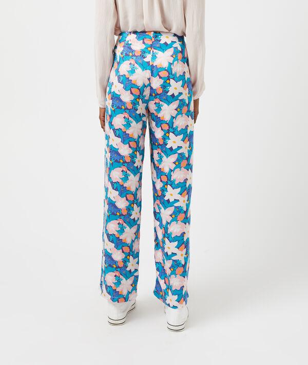 Wide-leg floral print trousers