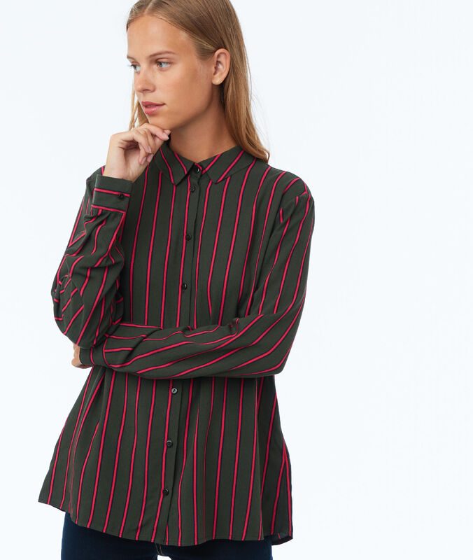 Striped blouse olive.