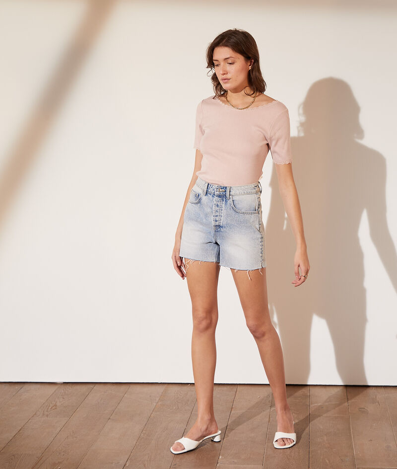 Pointelle T-shirt with scoop back and lace details