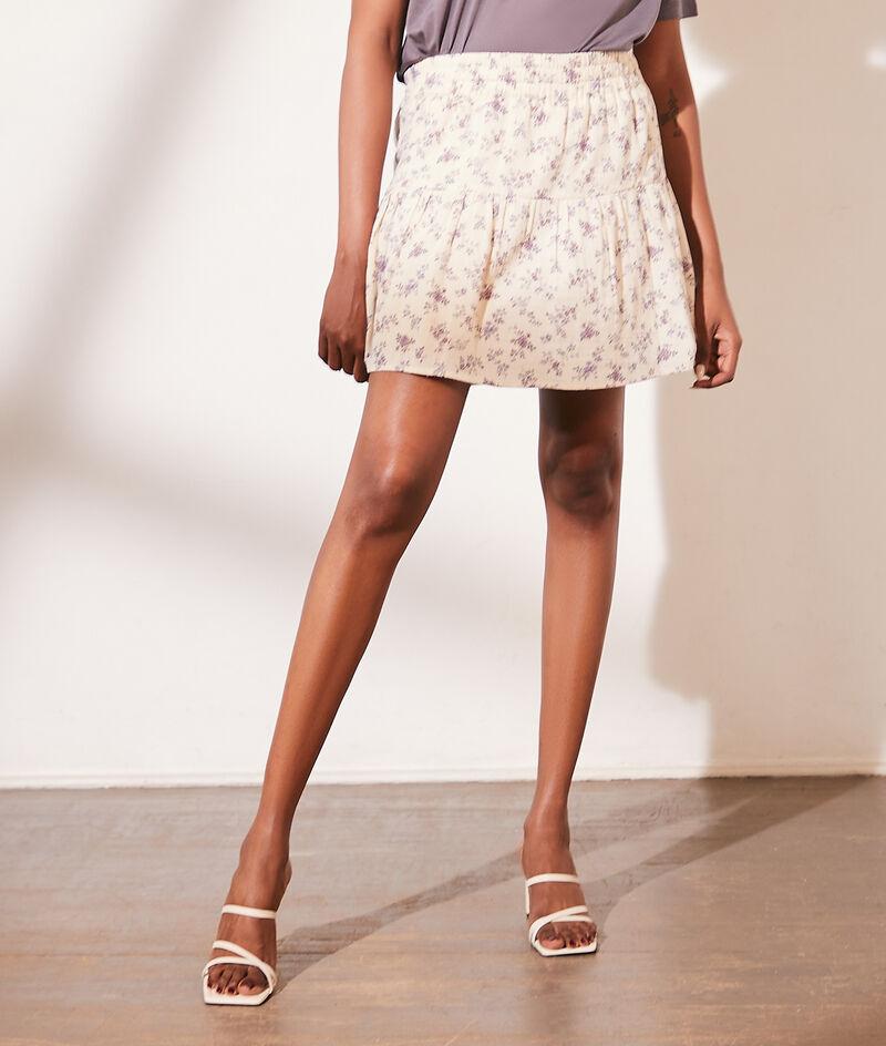Short skirt in cotton gauze floral print