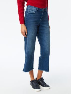 Frayed hem wide leg jeans stone.