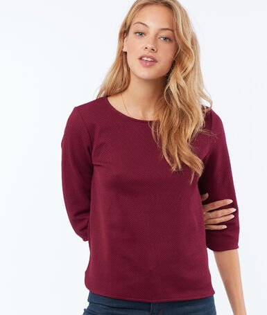 3/4 sleeve sweatshirt with wide neck anemone red.