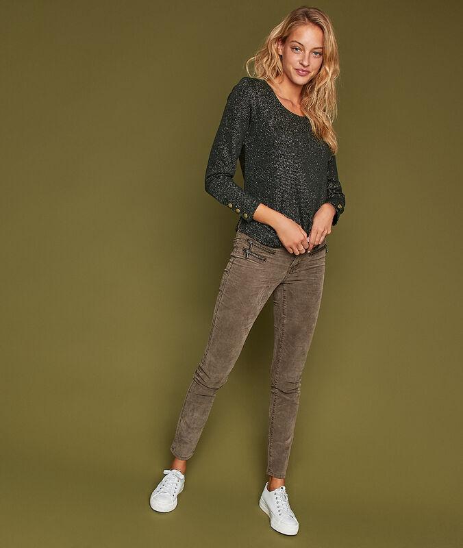 Pantalon slim en velours avec zips olive.