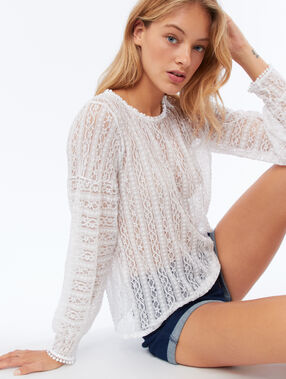 Openwork top with guipures white.