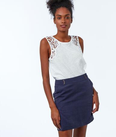 Tencel® straight skirt navy blue.