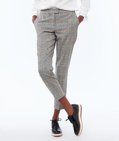 Pantalon cigarette à carreaux noir.