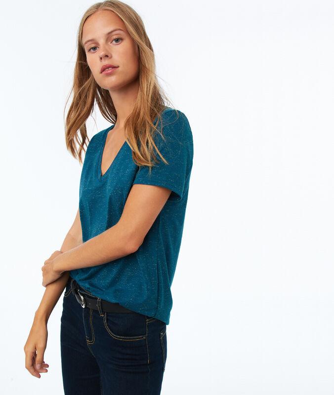 T-shirt à fils métallisés bleu canard.
