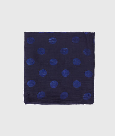 Polka dot scarf navy blue.