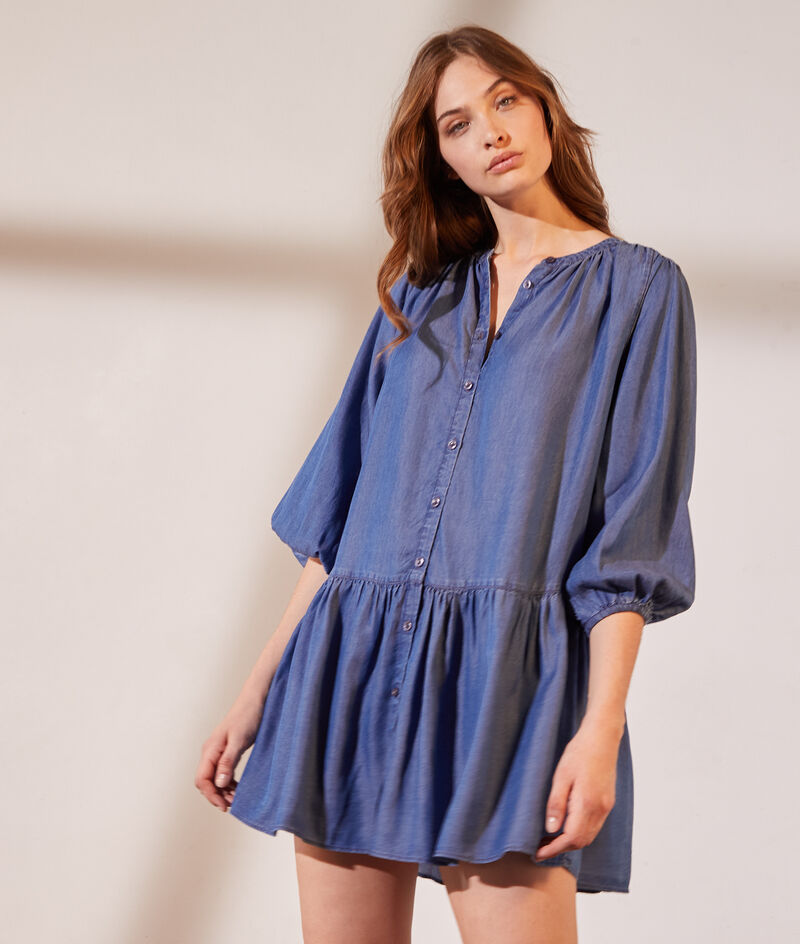 Shirt dress with balloon sleeves