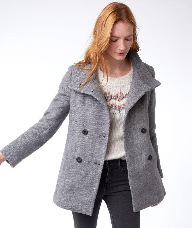 Manteau trois-quarts col boutonné gris chiné.