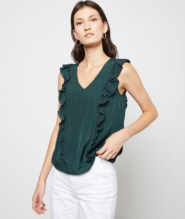 Dobby mesh blouse with ruffles