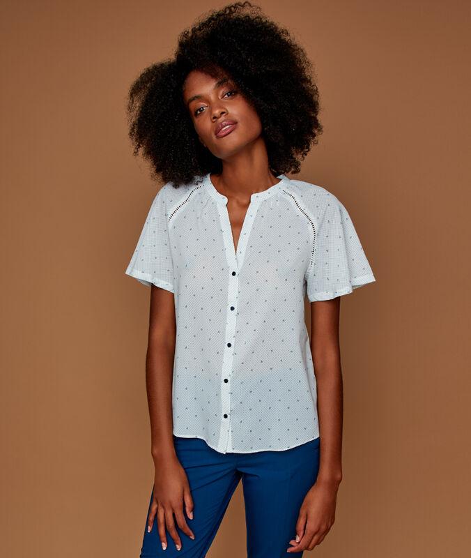 Printed blouse ecru.