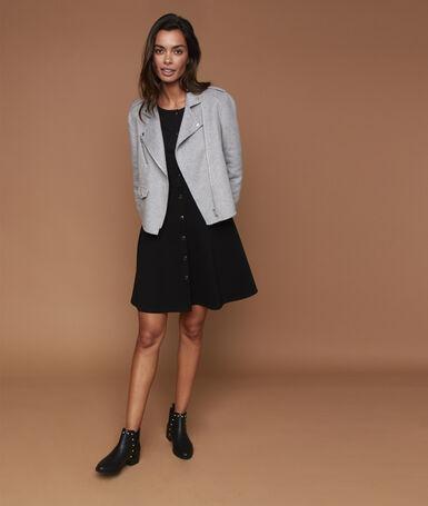 Blouson zippé gris clair chiné.